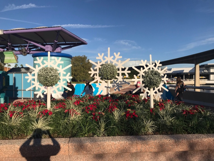 Christmas decor in Epcot