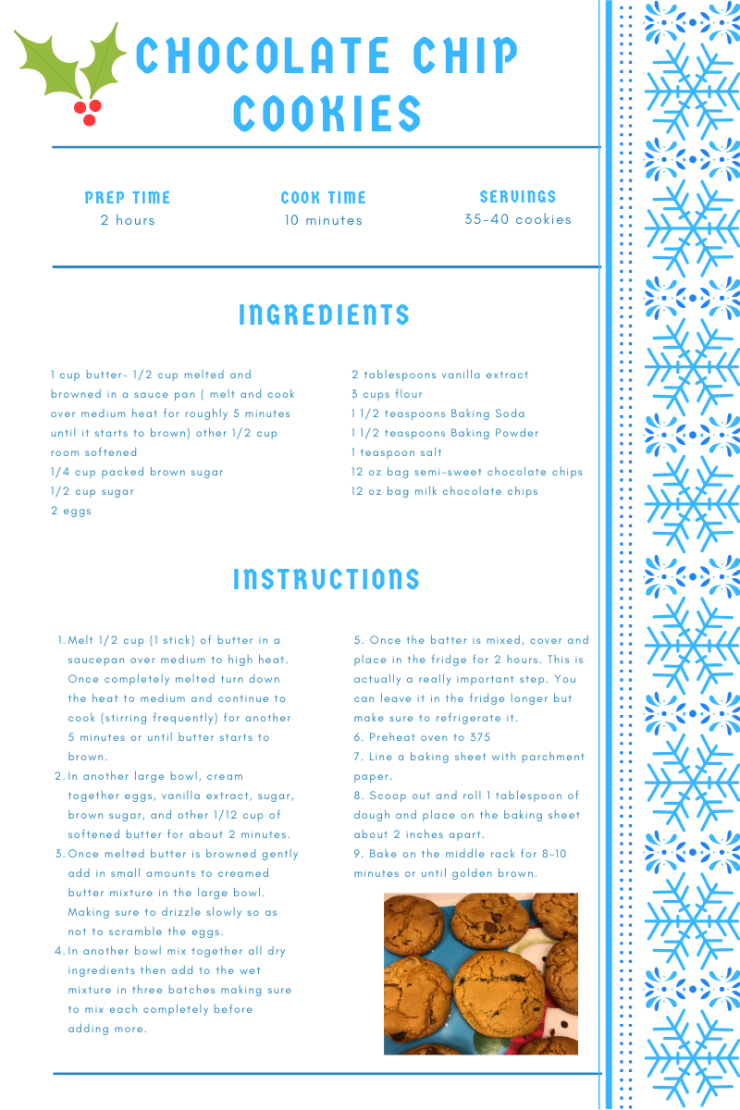 Chocolate chip cookie recipe card