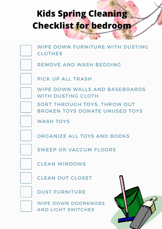 Spring cleaning checklist for kids bedroom
